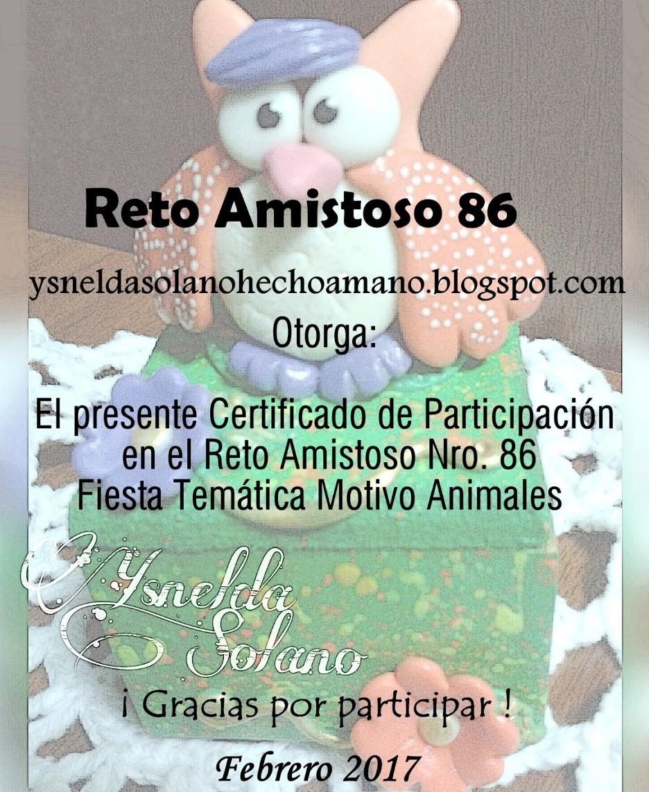 Certificado Reto Amistoso 86