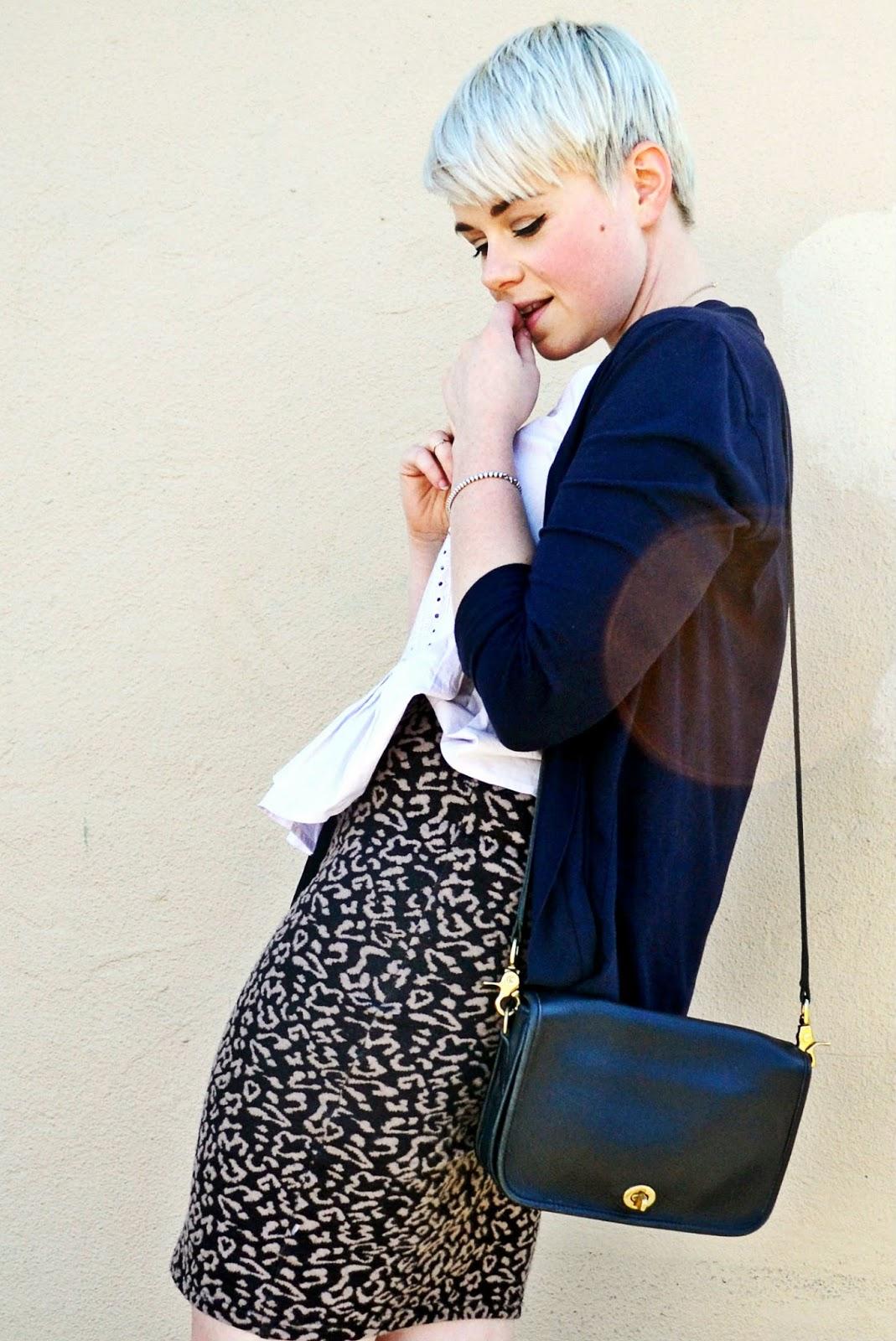 leopard print, seattle, street style, fleur d'elise, pastel, purple, vintage, coach
