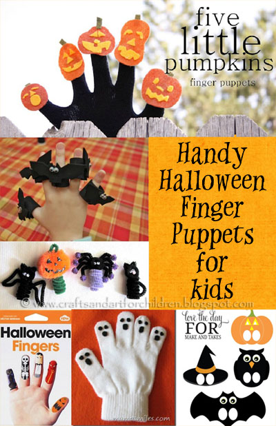 Make hand or finger Halloween Puppets for kids