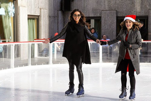 Shay Mitchell and Lucy Hale Ice Skating Rockefeller Center New York