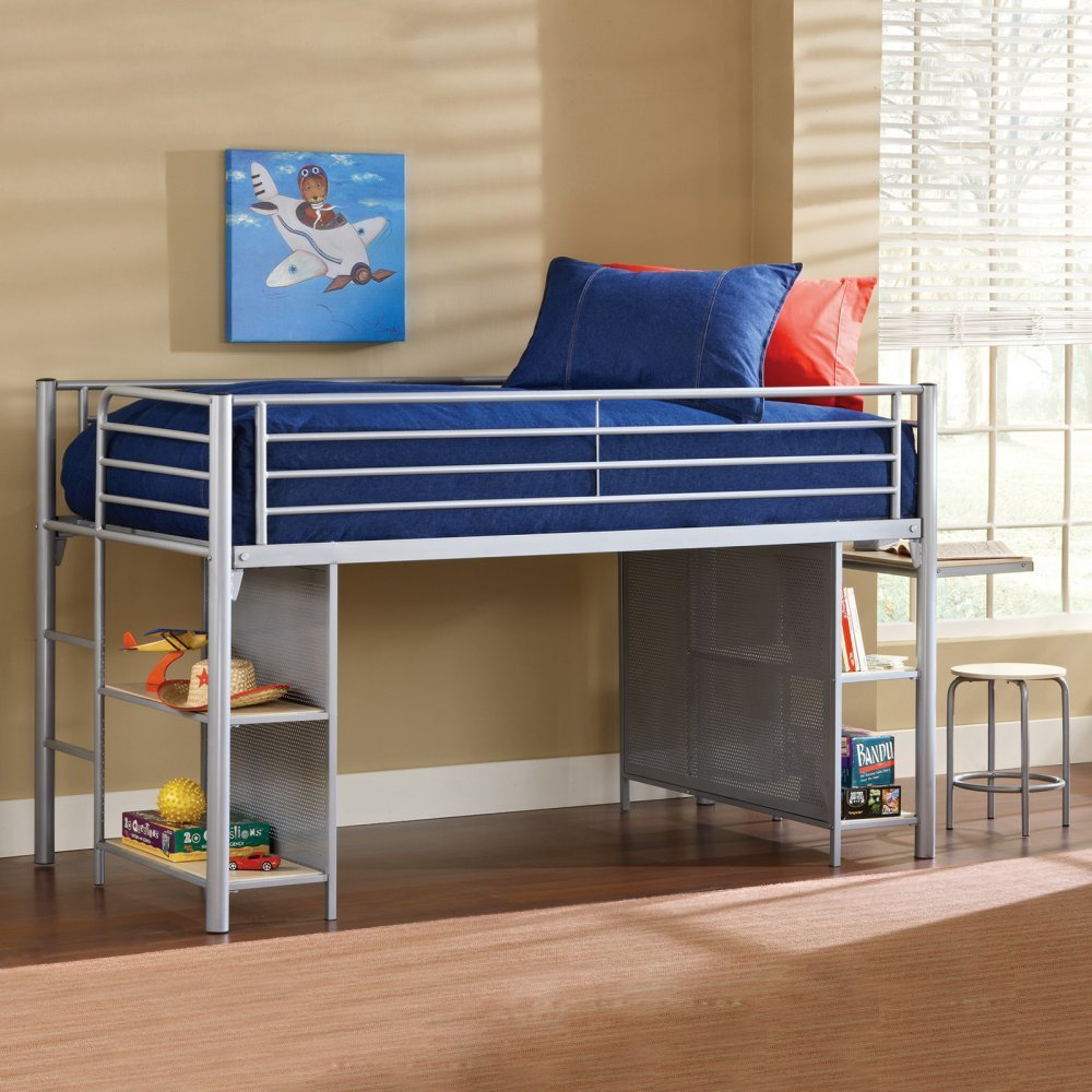Kidsu0027 Junior/Low Twin Metal Loft Bed With Desk And Shelves
