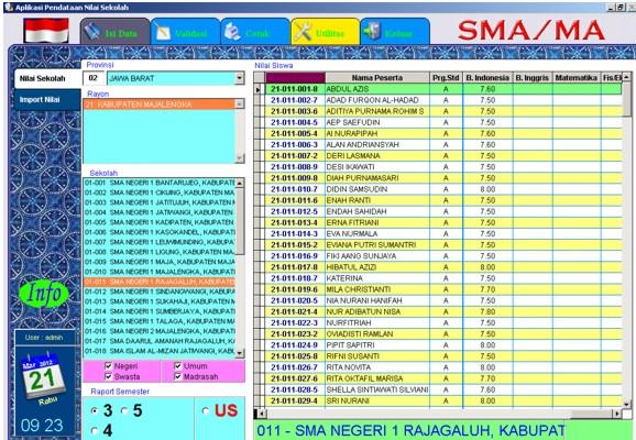 Aplikasi Entry Nilai Sekolah Ujian Nasional 2012 Majalengka Dunia Maya