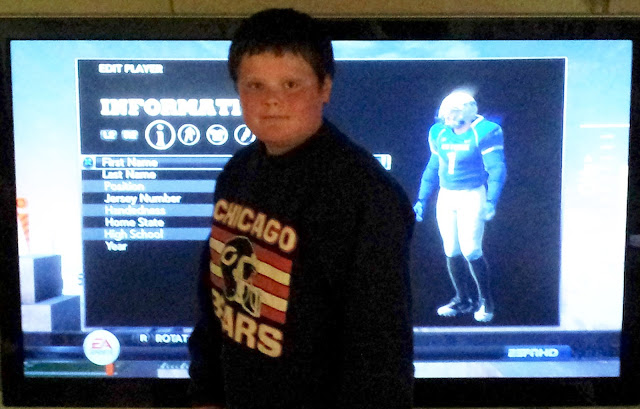 Rural Mom Eldest Son with his Custom NCAA Football 12 Player