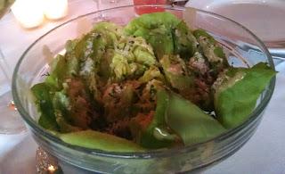 Salade Bagatelle: hearts of lettuce, Parmesan cheese, fresh garden herbs, mustard vinaigrette
