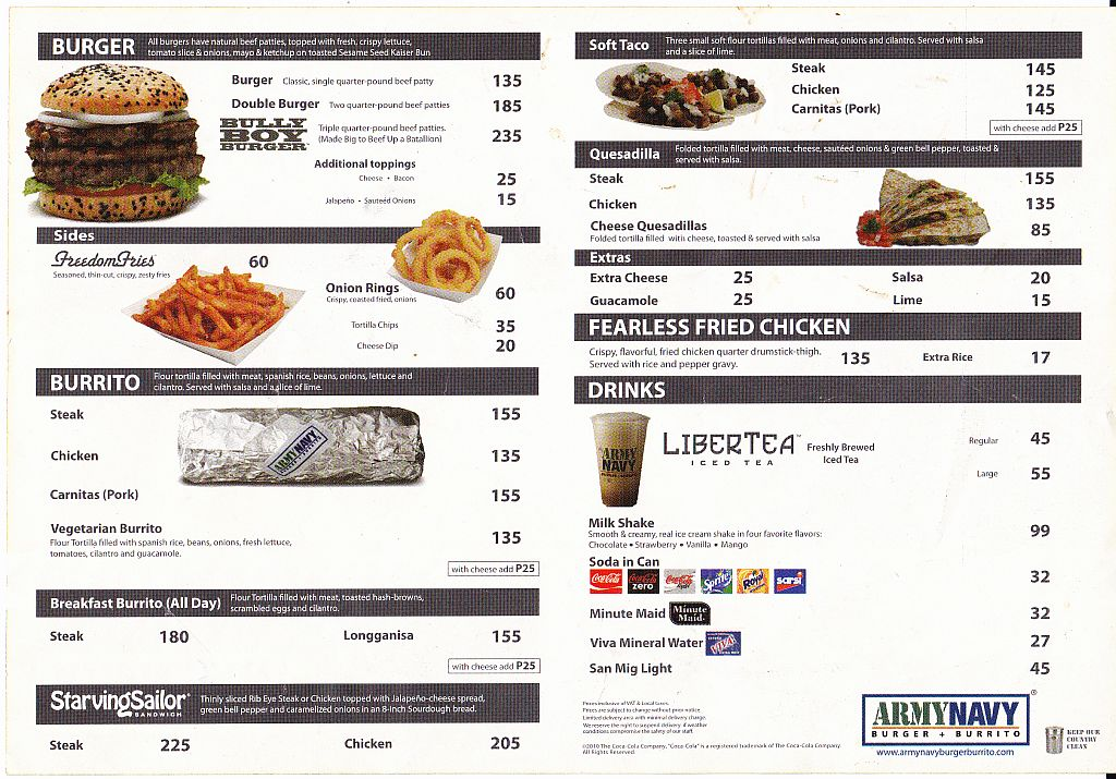 Menus In Manila Army Navy Menu