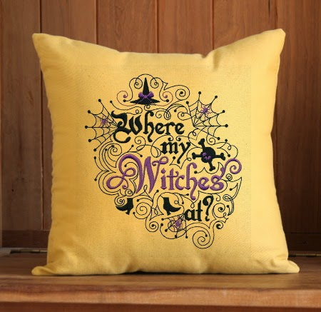 Where My Witches At Pillow | Eclectic Halloween Decor | Spider Web Pillow | 12 x 12 inch | Insert Included | Belinda Lee Designs