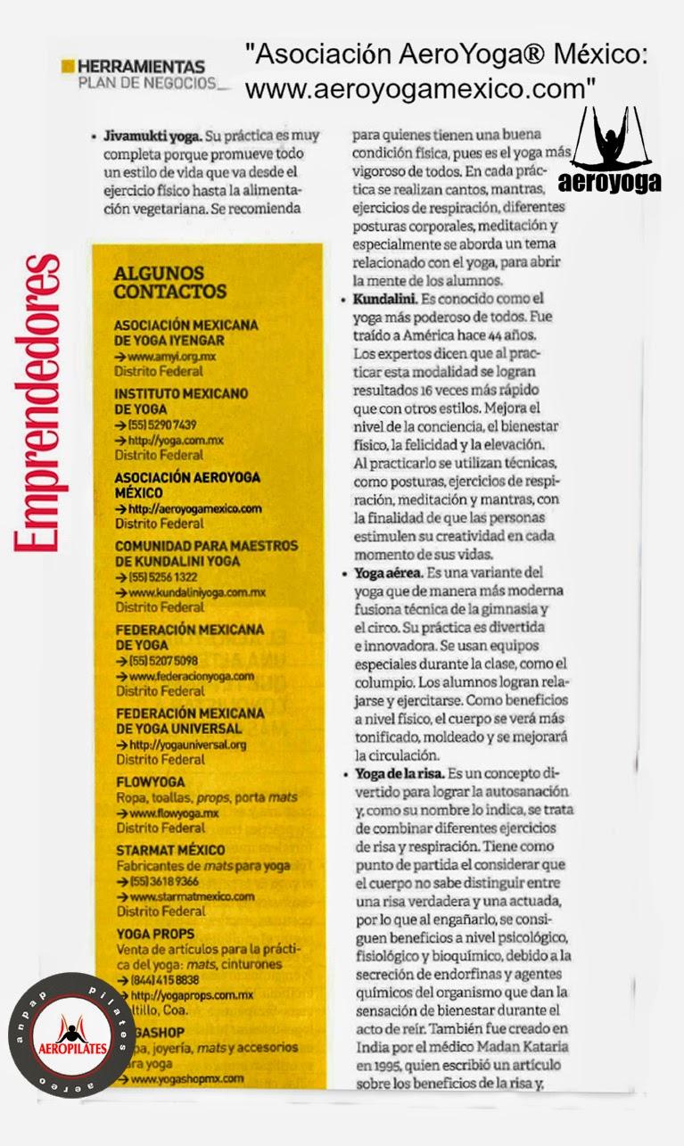 AEROYOGA® AERO YOGA AEREO PRENSA Y TV, TENDENCIAS, REPORTAJES, ARTICULOS