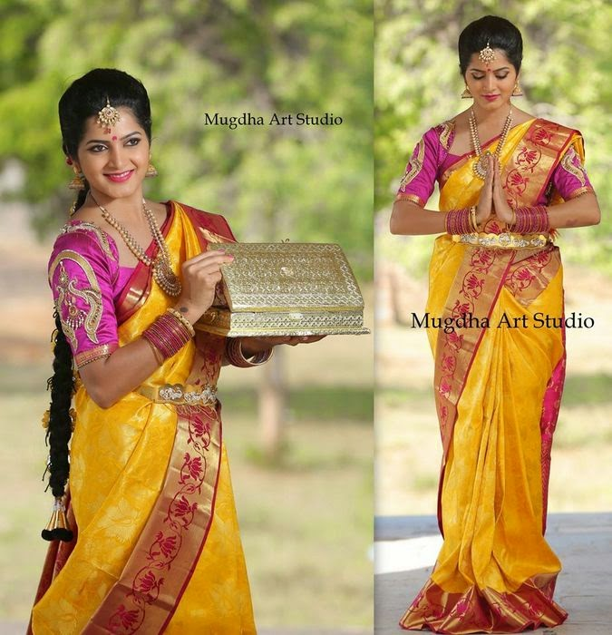 Mustard Bridal Saree with Work Blouse