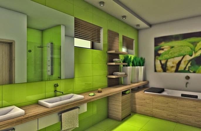 Baños Verde Con Beige:Decoración de baño en verde limón y blanco que nos recuerda a la