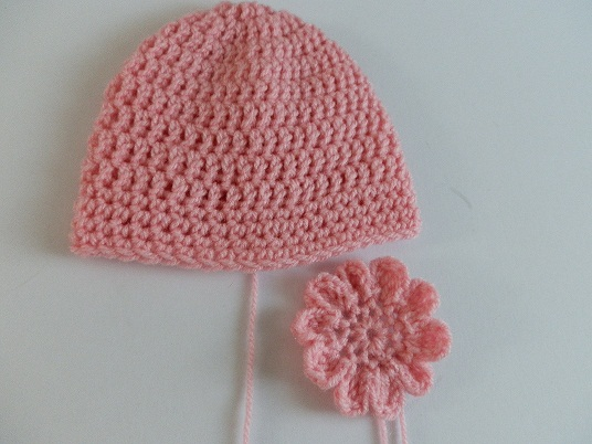 Crochet Baby Beanie Pattern Easy : A Beanie A Day: PINK BABY CROCHET HAT WITH CROCHET FLOWER ...