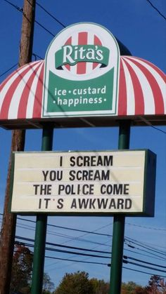 ice cream sign, police come awkward, funny signs
