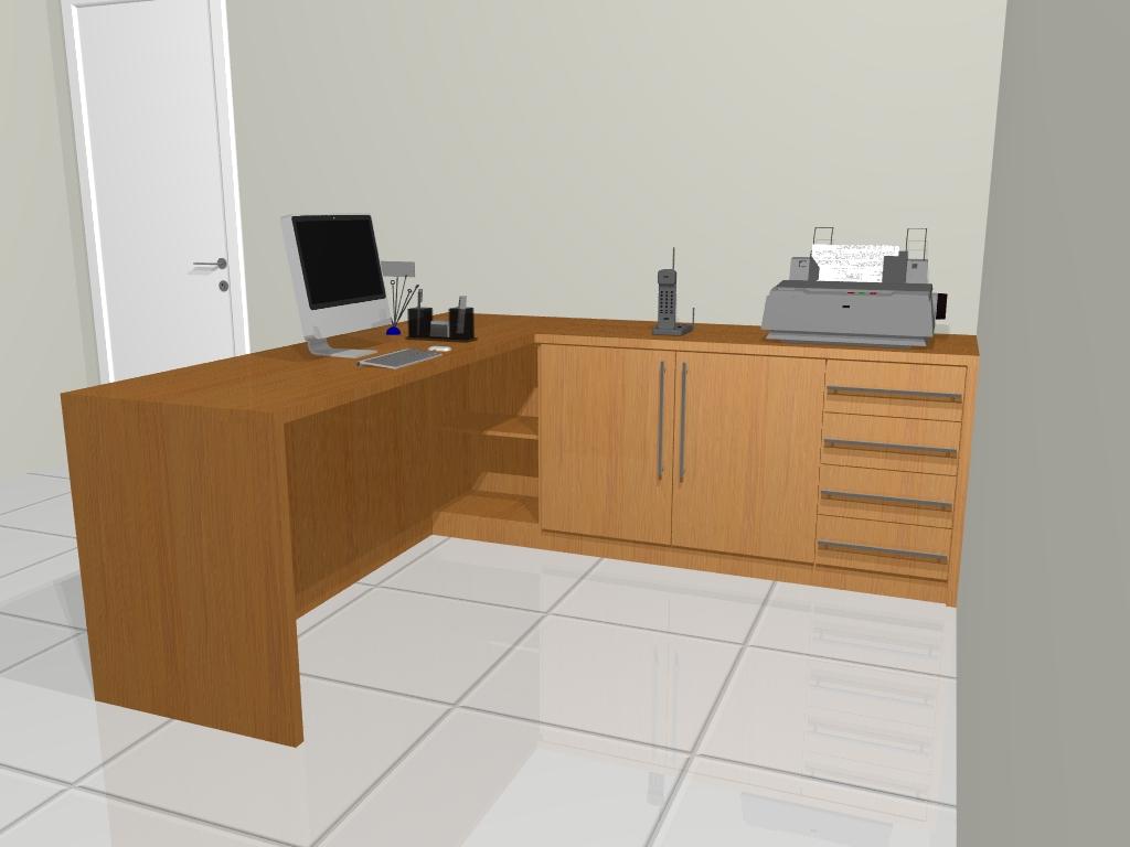Modulê Moveis Planejados: Mesa em L para Recepção #784D23 1024x768