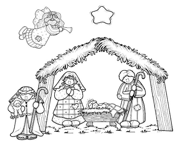 Nativity Manger Scenes Coloring Pages