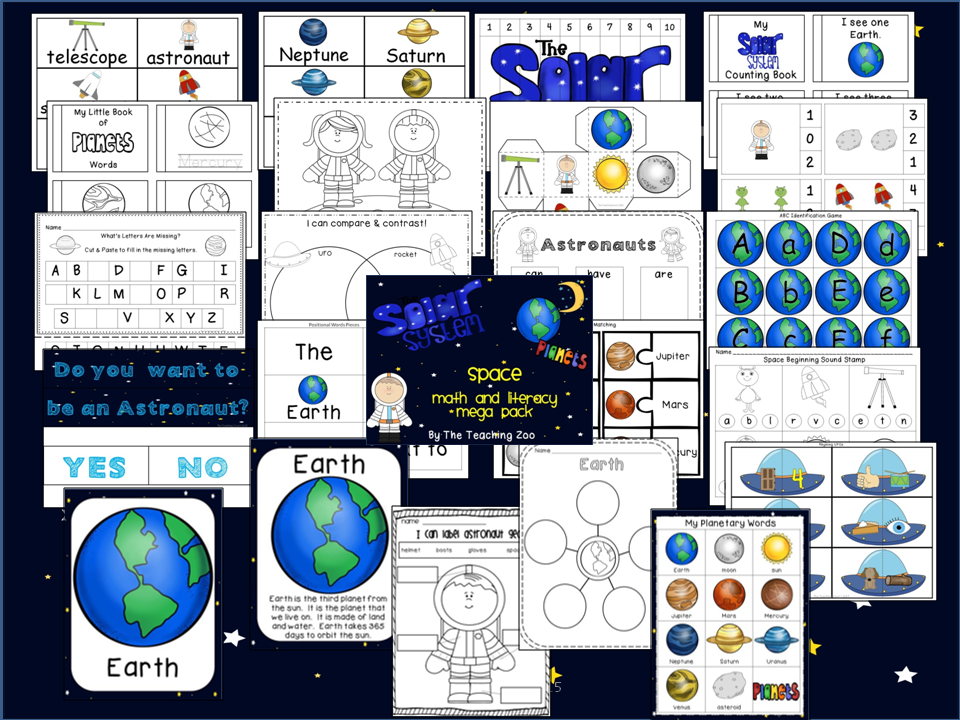 https://www.teacherspayteachers.com/Product/Space-and-Planets-Learning-Pack-1773415