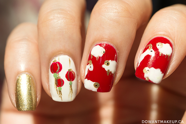 Chinese New Year - 2015 Year of the Sheep nail art