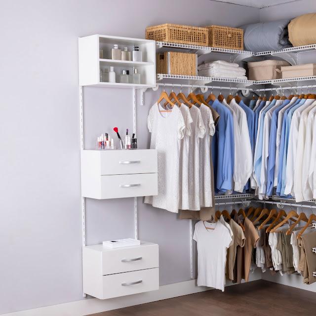 Armário aramado kit 28 - Closet ou quarto com módulo e nicho de madeira