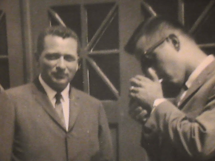 Agents Clint Hill and Ken Giannoules catch a smoke break! 8/5/63, Hyannis