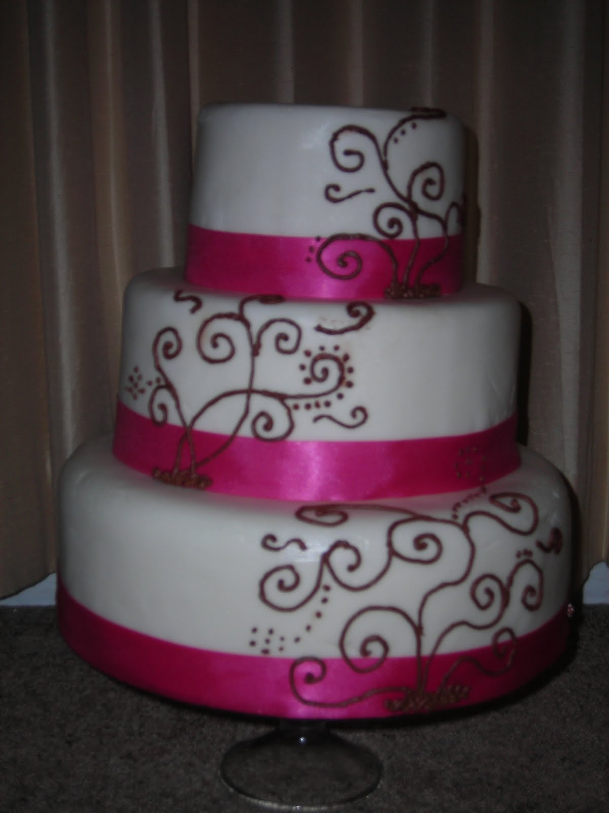 Cake Designs By Jackie Brown : Sweet Creations by Jacqueline: Pink and Brown Wedding Cake