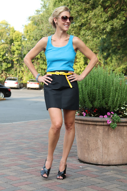 Gap Ribbed Tank, J. Crew Black Mini Skirt, Forever 21 Belt, Blinde Eyewear, BCBG Wedges