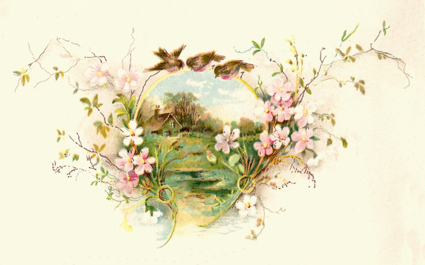 Graghic: Free Vintage Bird Graphic: 3 Birds on a Flower Frame Clip Art