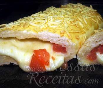 receita de pão em forma de rocambole recheado com muçarela