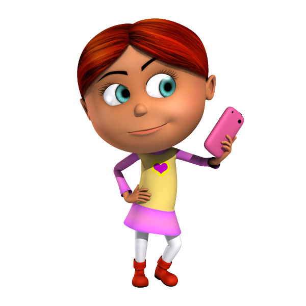 Isabella 3D Character taking a selfie