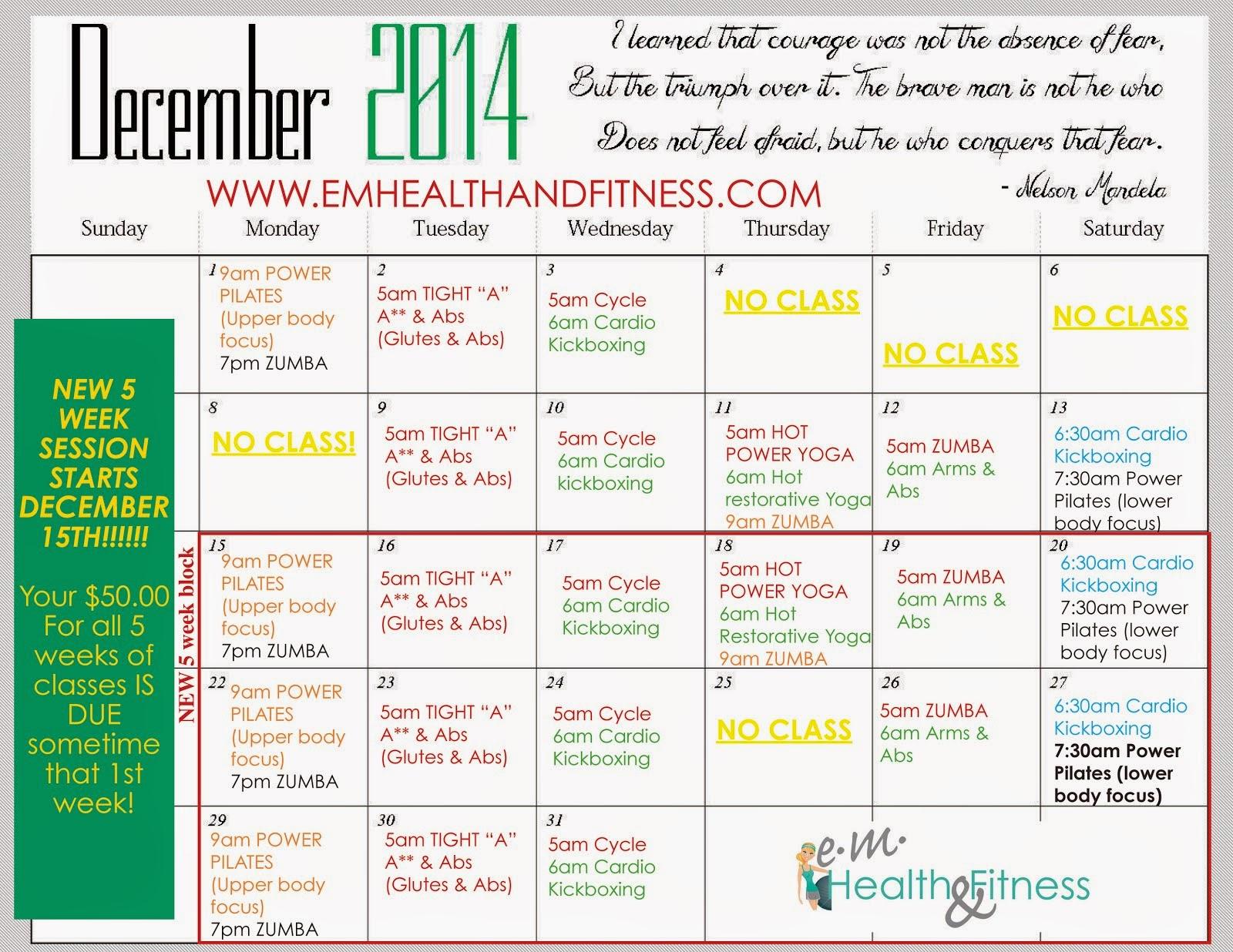 Dec Fitness Class Schedule