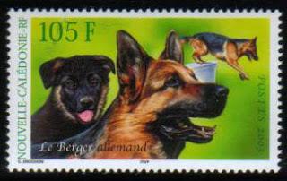 1984年ニューカレドニア ジャーマン・シェパードの切手