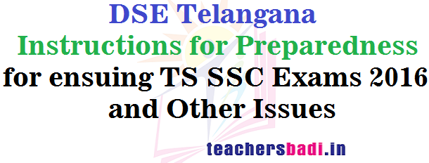 Instructions,TS SSC Exams,Other Issues