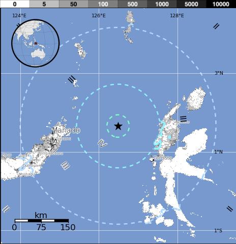 Epicentro sismo mar de las Molucas, 17 de Marzo 2015