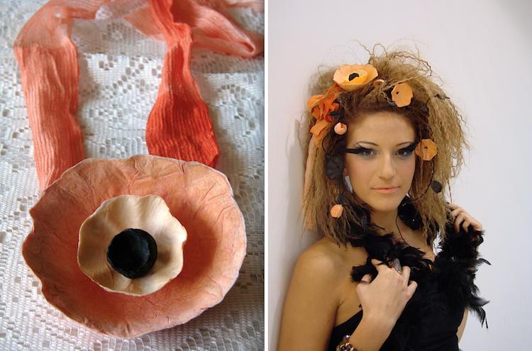 fascia per capelli aracione nera con fiori di carta fatti a mano