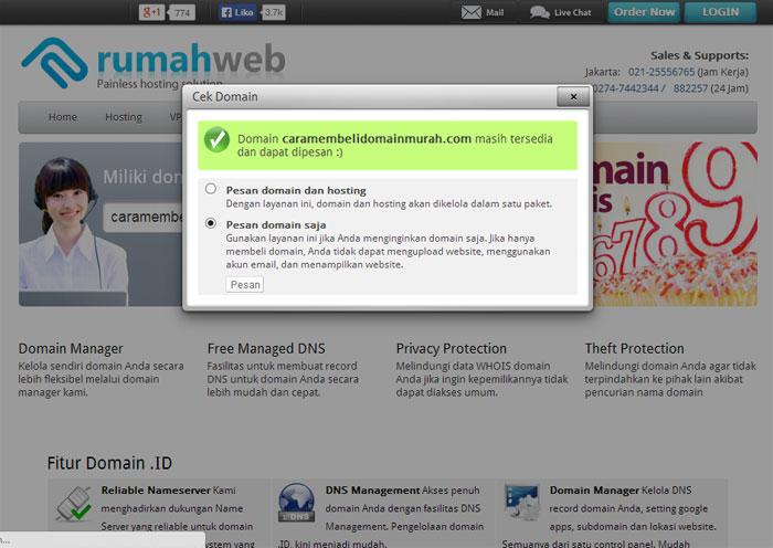 Cara Membeli Domain Konfirmasi Pilihan