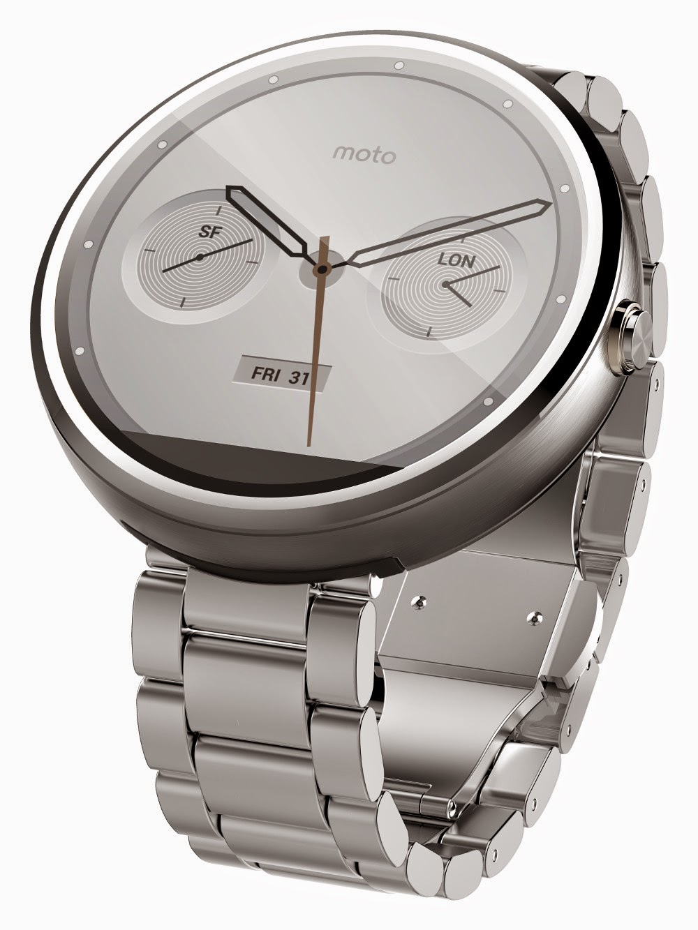 Motorola Moto 360 Metal - light metal slim side view