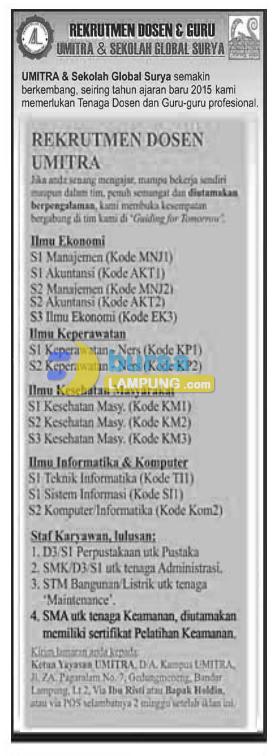 Recruitment Dosen UMITRA 2015