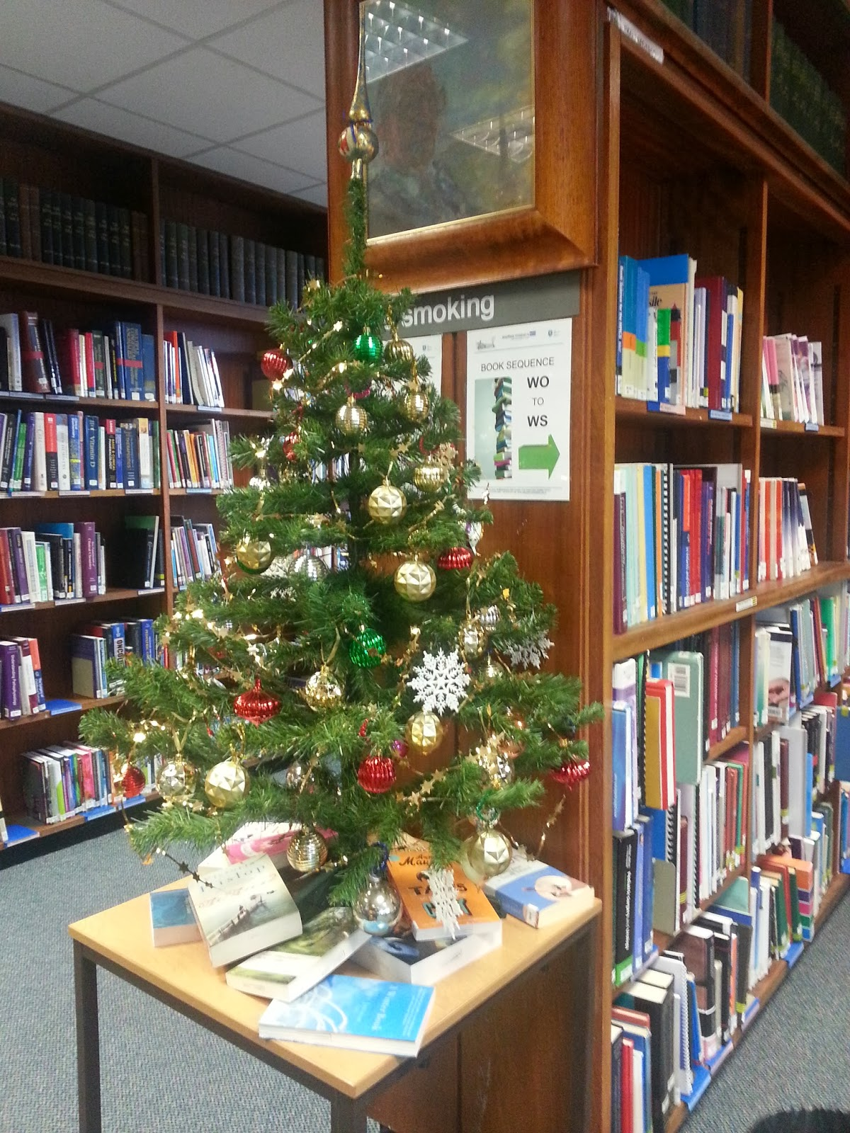 we have put up our christmas decorations and around the tree a selection of our leisure reading books if you plan to curl up with a good book over - Library Christmas Decorations