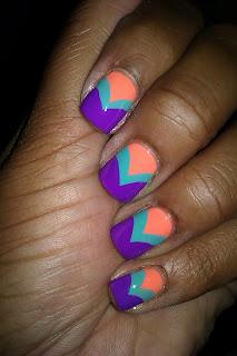 Julep Robin, purple, peach, coral, chevron, fishtail, nail art, nail design, mani