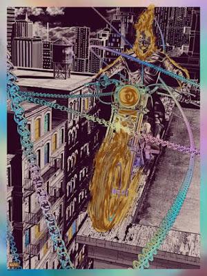 Ghost Rider Marvel Holographic Foil Screen Print by Chris Skinner & Grey Matter Art