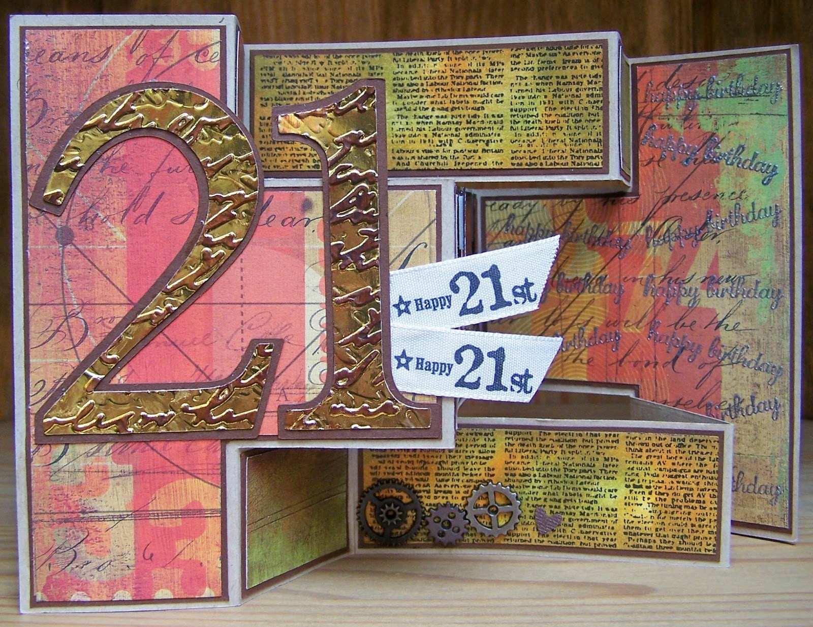 Time2craft male 21st birthday card i cut the 21 on my cricut then embossed the mirri card and ran brown stazon ink over the embossed bits the 21 ribbon i bought from my local craft shop bookmarktalkfo Gallery