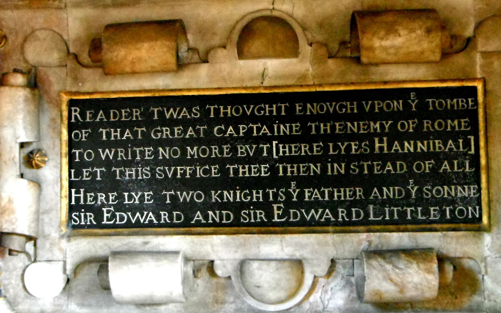 Epitaph on the Littleton tomb at Penkridge Church