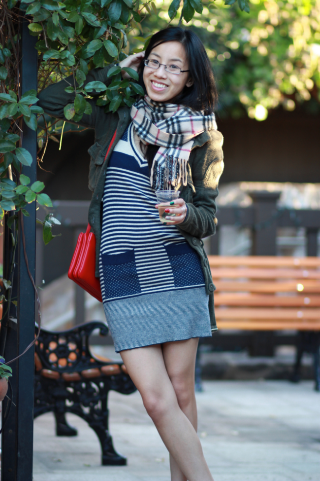 layering sweater over dress winter outfit ideas