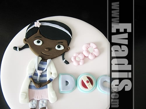 Picture of closer view of Dr McStuffins Cake