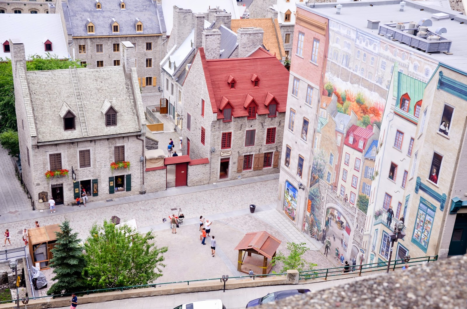 Wall murals in Old Quebec neighborhood, on Rue Notredame near Place Royale