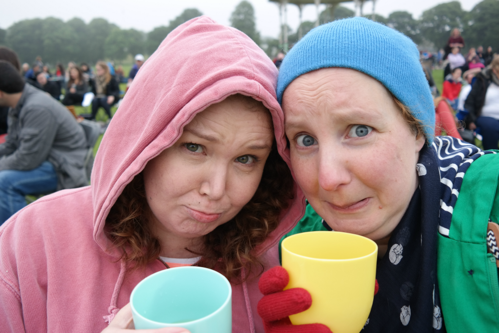 Steff and Sarah looking cold at BP Big Screens Opera in Duthie Park