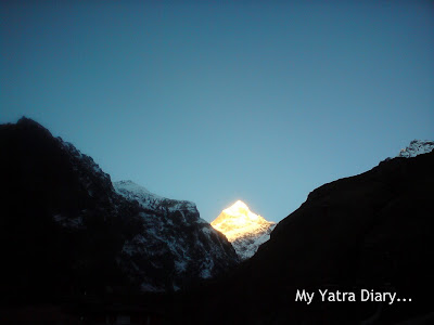 Sunrise at the Neelkanth Peak in the Garhwal Himalayas in Uttarakhand