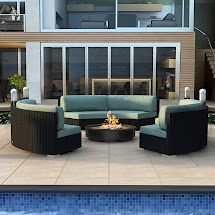 Modern Wicker Sectional Outdoor Sofa Sets Curved