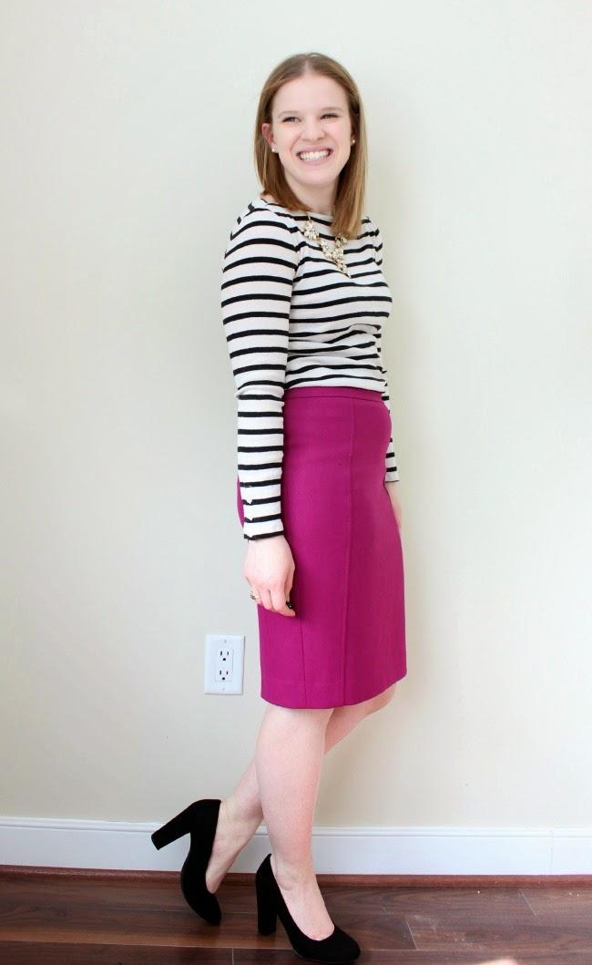 Statement Necklace Monday | Something Good, pink pencil skirt, striped top, black pumps, rocksbox, statement necklace