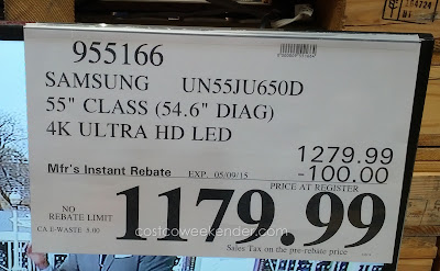 Deal for the Samsung UN55JU650DFXZA 55 inch LED HDTV at Costco
