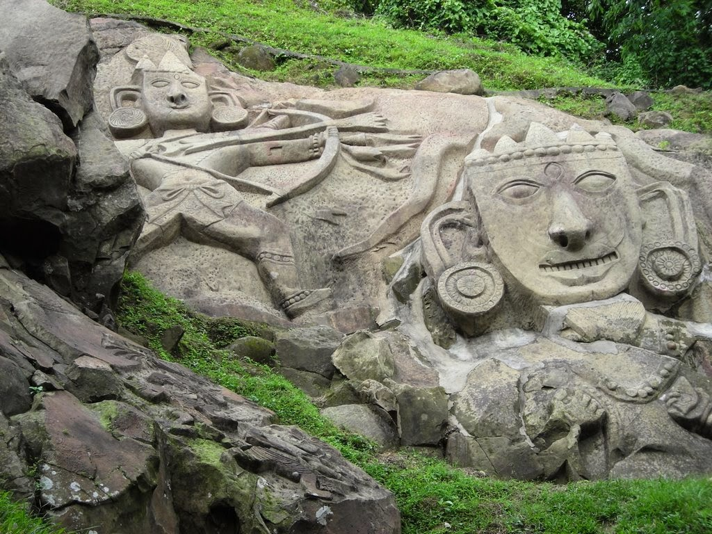 stone carvings in Unakoti in Tripura