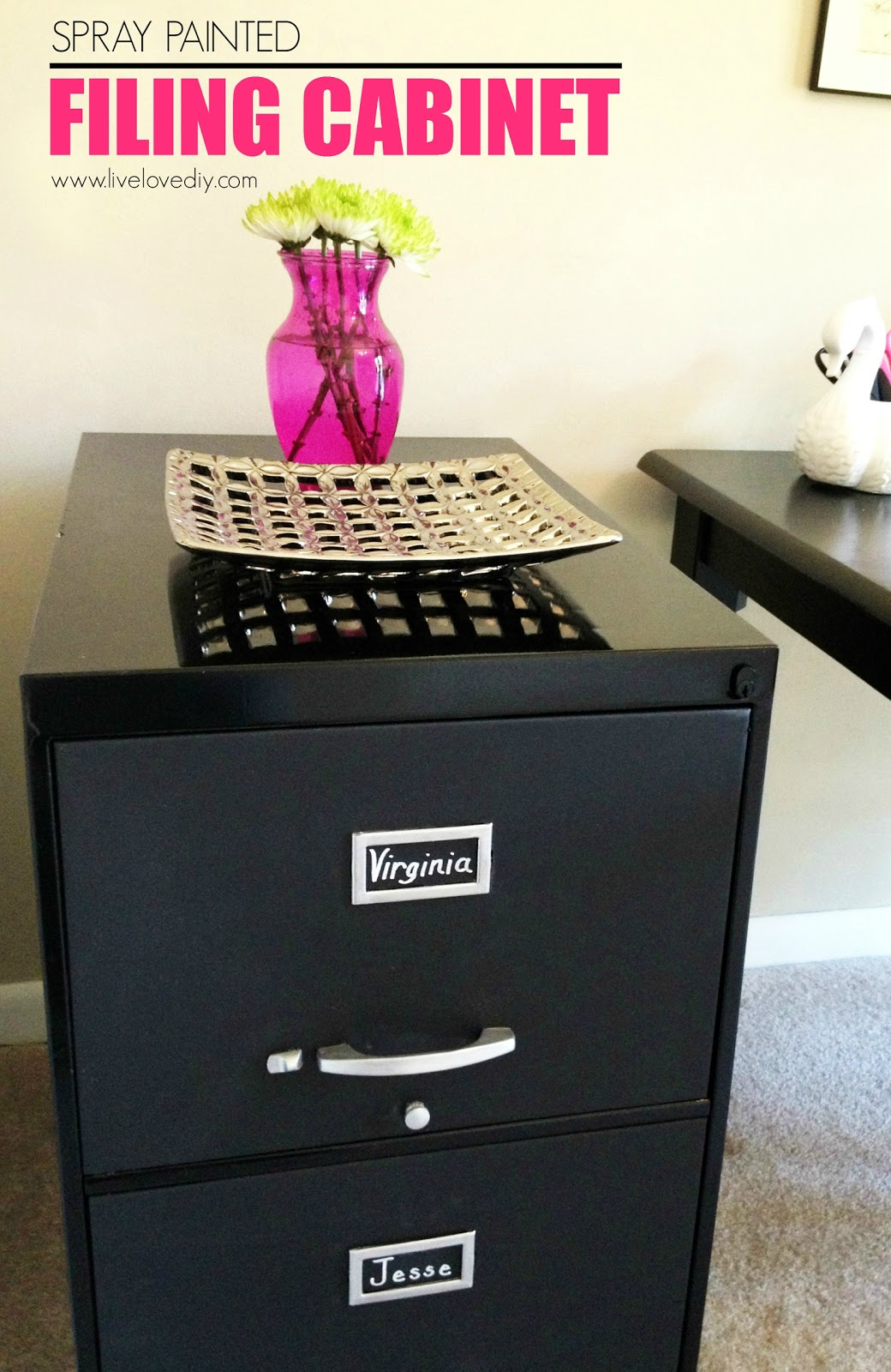 Charmant Another Example Is This Filing Cabinet. I Spray Painted The Frame A High  Gloss Black And Then Used Chalkboard Paint On Each Drawer Front.