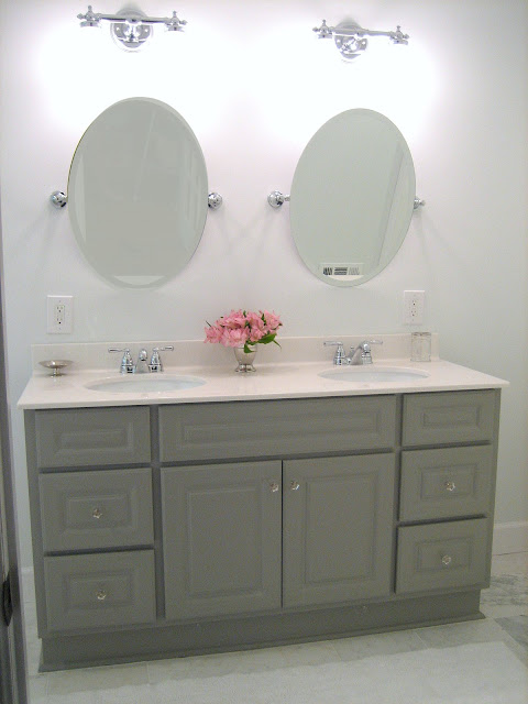 diy gray painted bathroom vanity master bathroom renovation source list